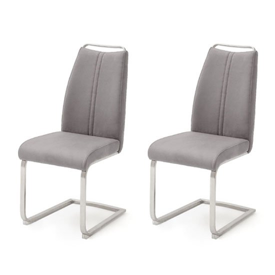 Giulia Ice Grey Cantilever Dining Chair In A Pair