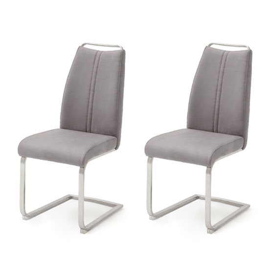 Giulia Ice Grey Leather Cantilever Dining Chair In A Pair