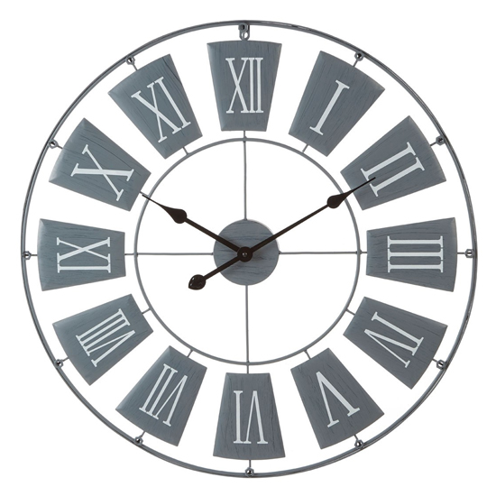Givoa Large Metal Contemporary Wall Clock In Grey