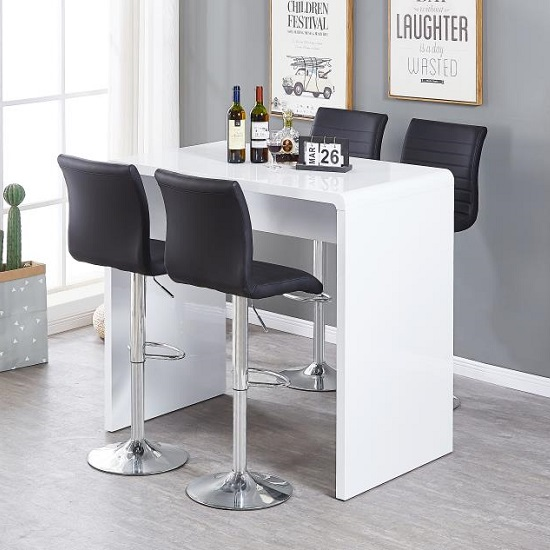 Glacier Bar Table In White Gloss With 4 Ripple Black Stools