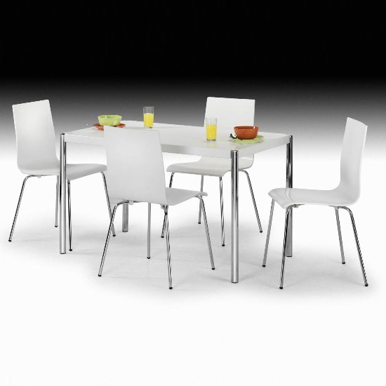 Glacier White Dining Set With 4 White Dining Chairs