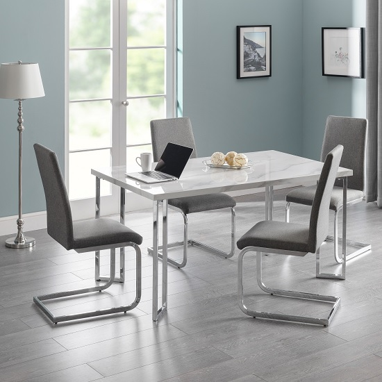 Glacier Marble Effect Dining Table In White And 6 Grey Chairs