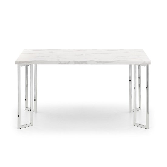 Glacier Marble Effect Dining Table In White And Steel Frame
