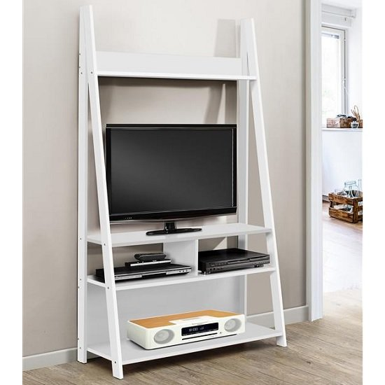Product photograph showing Glacier Wooden Entertainment Unit In White