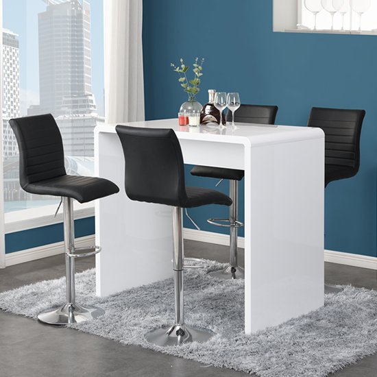 Glacier Gloss Bar Table In White With 4 Ripple Black Stools