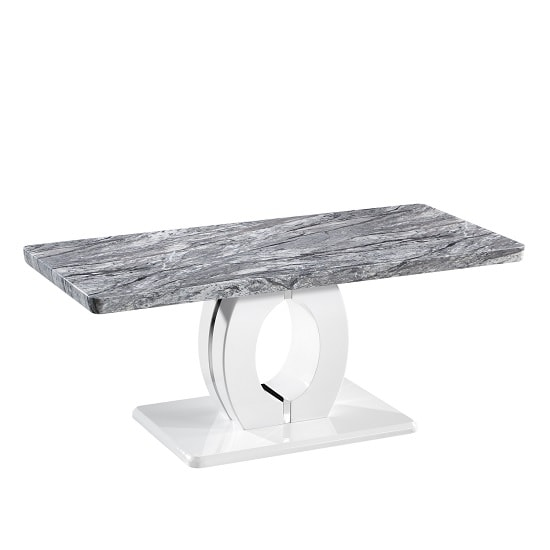 Glacier Marble Effect Top Coffee Table With Polished Chrome Base