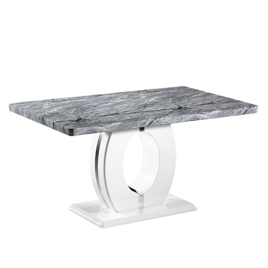 Glacier Marble Effect Top Dining Table With Polished Chrome Base