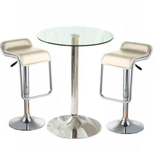 Glass Bar Stools: Gino Glass Bar Table And 2 Leoni Bar Stools In Charcoal