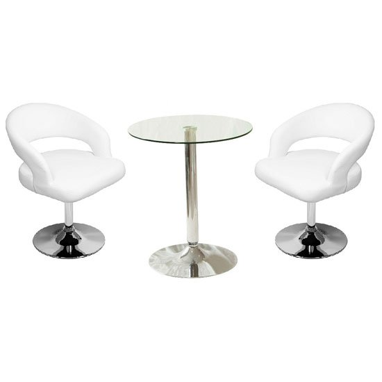 Vetro Bistro Table In Clear Glass With 2 Clinick White Bar