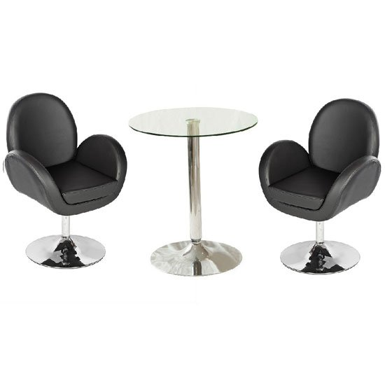 Vetro Bistro Table In Clear Glass Top With 2 Ego Black Bar Stool