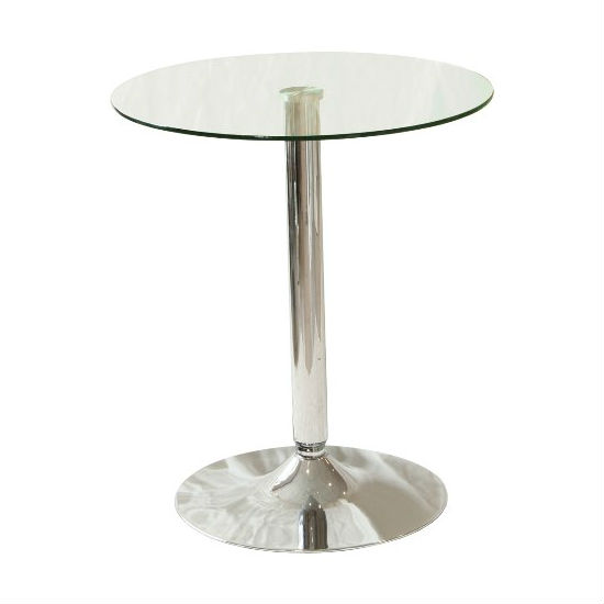 Vetro Bistro Table Round In Clear Glass Top With Chrome Base