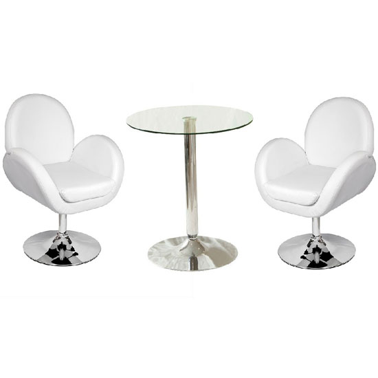 Vetro Bistro Table In Clear Glass Top With 2 Ego White Bar Stool