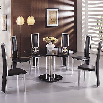 Maxi Glass Dining Table Round In Black With 6 G601 Dining Chairs