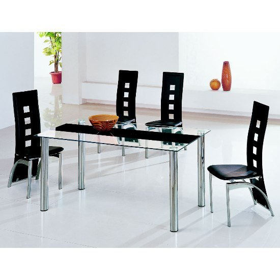 Glass dining tables and 6 chairs furnitureinfashion uk Glass dining table