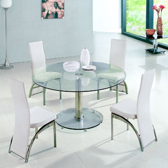 Maxi round clear glass dining table and 6 g501 dining for Round glass dining table for 6