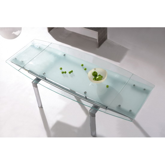 glass dining tables megaDinFrst - Introducing An Extendable Dining Table Into A Living Room