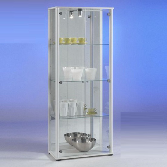 Bora3 Glass Display Cabinet In White With Light