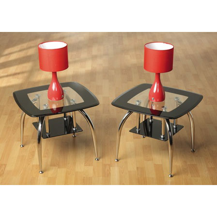 Caravelle Lamp Table In Clear Glass Top With Black Glass Border