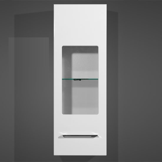cool wall mount display cabinet in white gloss with led light