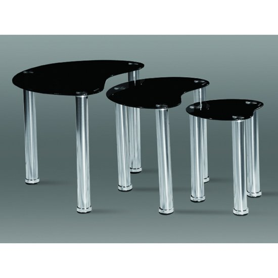 Image of 3PC Black Heart Nest Of Tables