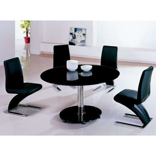 Maxi round black glass 6 seater glass dining table sets for Furniture in fashion