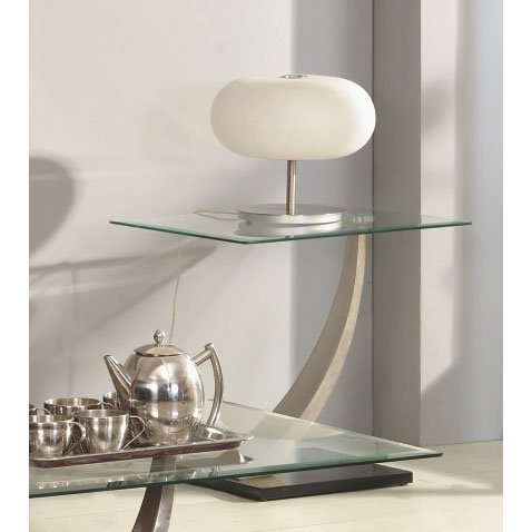 Cesar lamp table in clear glass top 3163 furniture in for Side and lamp tables