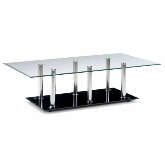Alpha Rectangle Clear Glass Coffee Table With Black Glass Base