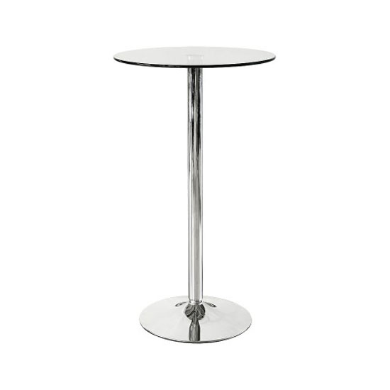 Alford Glass Bar Table In Clear With Chrome Base