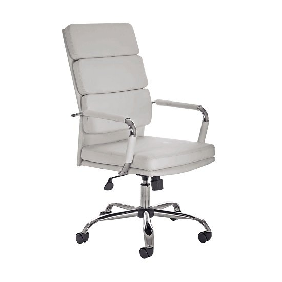 Gleeson Bonded Leather Executive Chair In White With Wheels