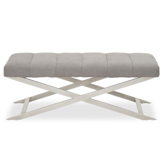 View Glidden fabric hallway bench in grey with cross legs