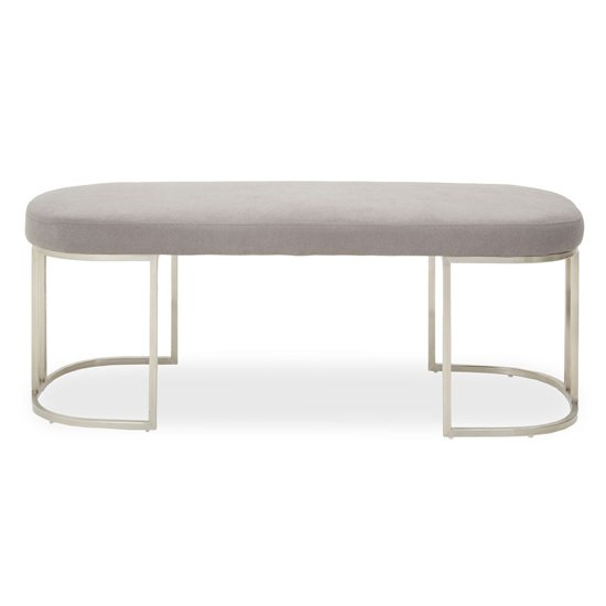 View Glidden fabric hallway bench in grey with curved legs