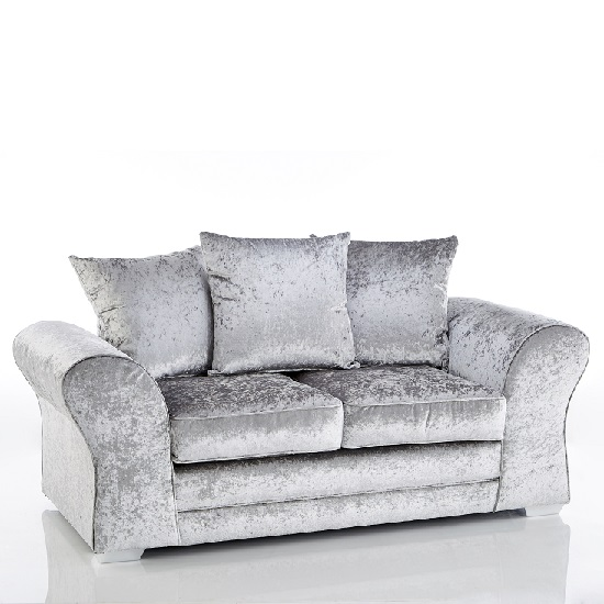 Glider 2 Seater Sofas In Silver Fabric With Chrome Base