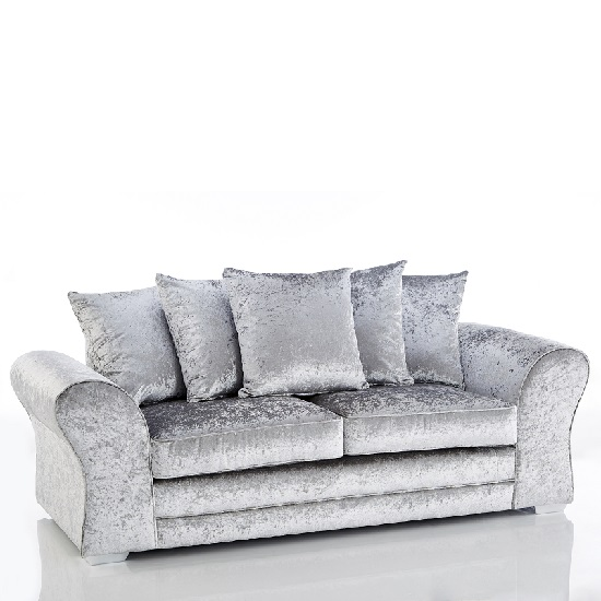 Glider 3 Seater Sofas In Silver Fabric With Chrome Base