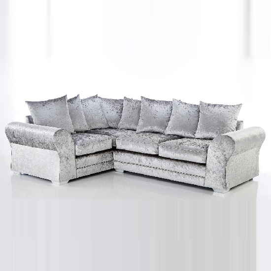 Glider Corner Sofa In Silver Fabric With Chrome Base