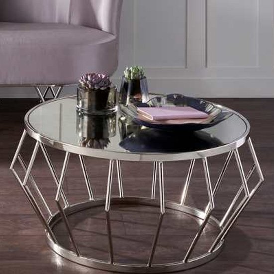 View Gloas mirrored coffee table with nickel frame