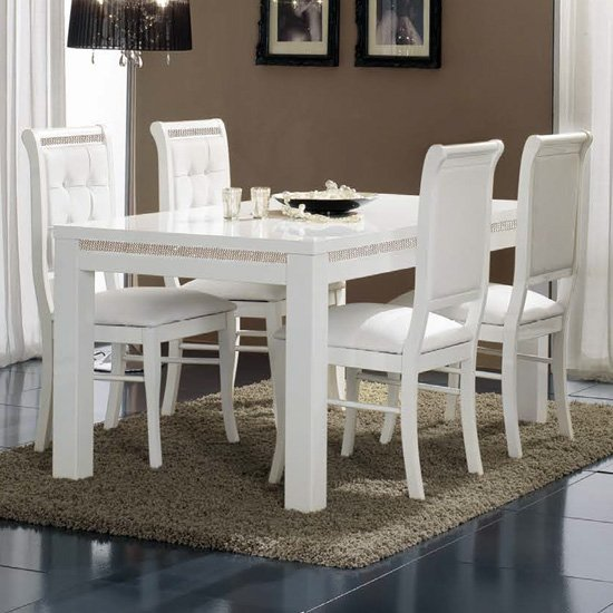 Gloria Crystal Details Gloss White Dining Table With 4 Chairs