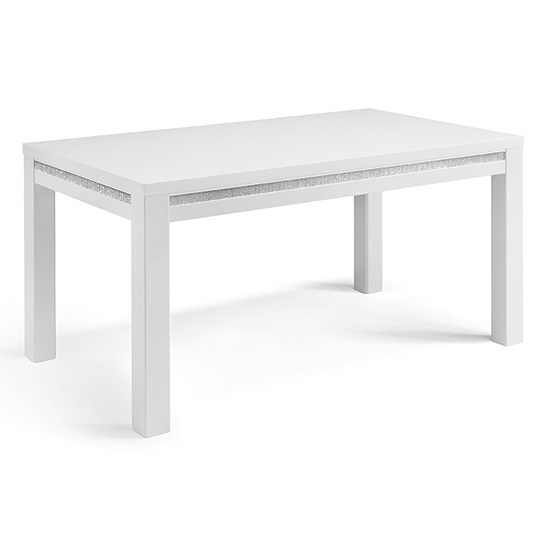 Gloria Large Dining Table In White Gloss With Crystal Details