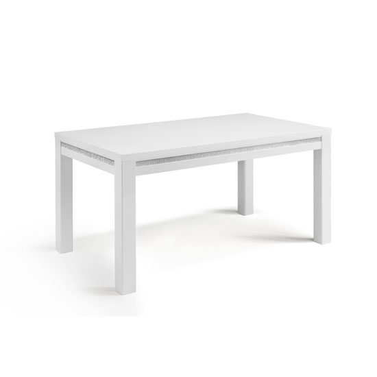 Gloria Dining Table In White High Gloss With Crystal Details