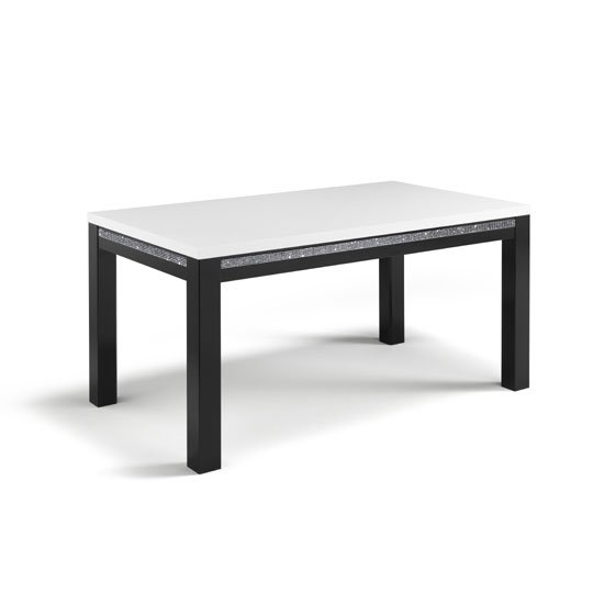 Gloria Dining Table In Black And White High Gloss With Crystals