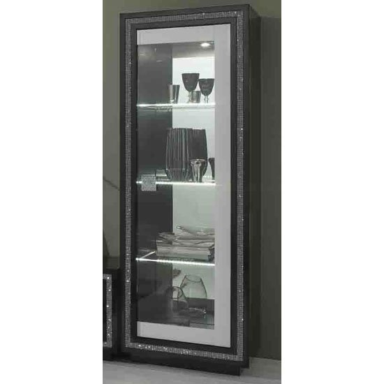 Gloria Display Cabinet In Black And White High Gloss And LED_1