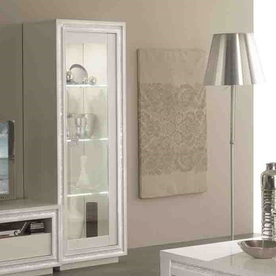 Gloria Display Cabinet In White Gloss With Crystals And LED_2