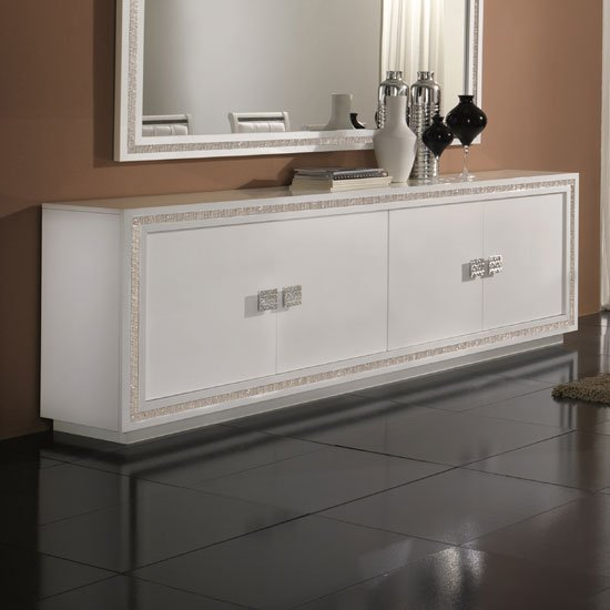 Gloria Sideboard In White High Gloss With Crystal Details