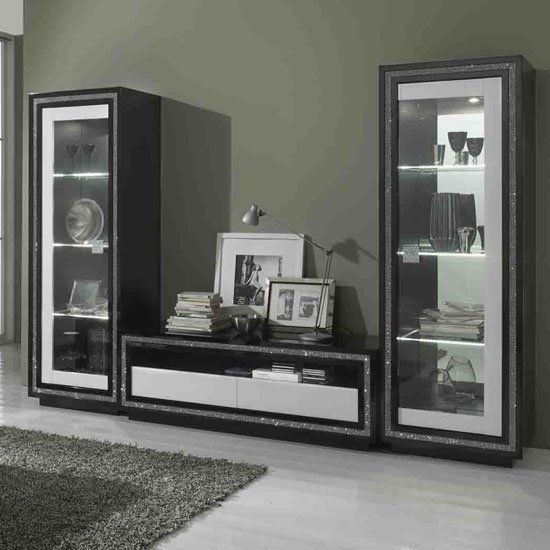 Gloria Living Room Set In Black And White High Gloss With LED_1