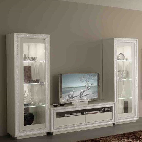 Gloria Display Cabinet In White Gloss With Crystals And LED_3