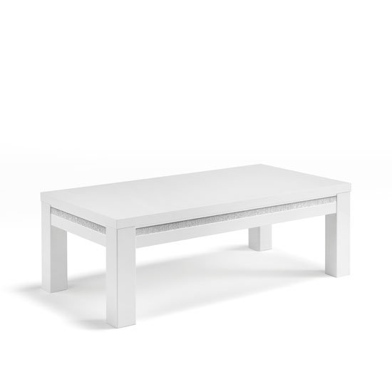 Gloria Coffee Table In White High Gloss With Crystal Details