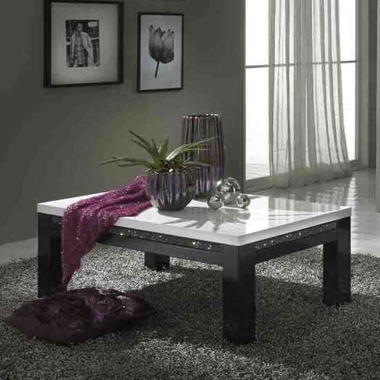 Gloria Coffee Table In Black And White High Gloss With Crystals_1
