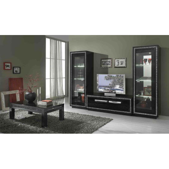 Gloria Living Room Set In Black Gloss And Crystals With LED_2