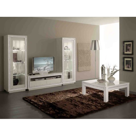 Gloria Display Cabinet In White Gloss With Crystals And LED_4