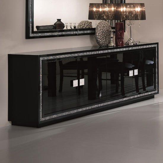 Gloria Sideboard In Black High Gloss With Crystal Details