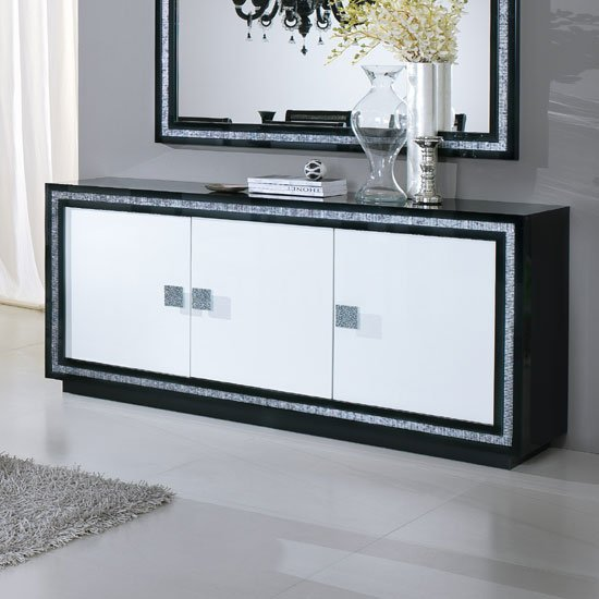 Gloria Sideboard In Black And White High Gloss With Crystals_1